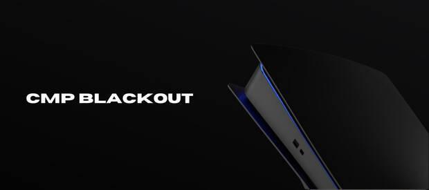 PS5 avec coque noire non officielle.