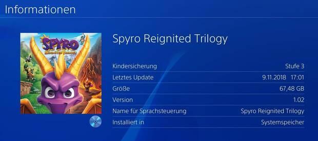 Spyro Reignited Trilogy ocupa 67,48 GB en PlayStation 4 Imagen 2