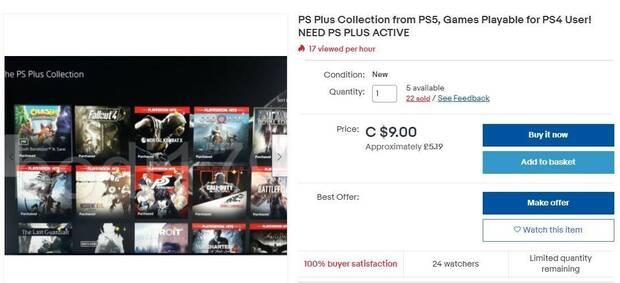 Usuarios de PS5 vendiendo acceso a PS Plus Collection en eBay.