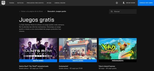 Nuevos juegos gratis de Epic Games Store.