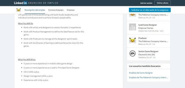 The Pokémon Company busca empleados para un nuevo juego para móviles Imagen 2