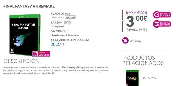 GAME lista y permite reservar Final Fantasy 7 Remake para Xbox One Imagen 2