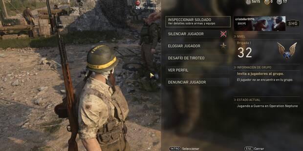 Call of Duty: WWII: Elogiar y desafiar jugadores en el Cuartel General