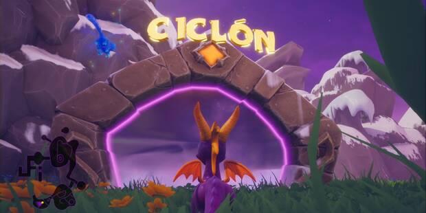 Ciclón en Spyro 1 - Estatuas de dragón y cómo derrotar al jefe