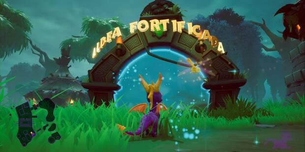Aldea fortificada en Spyro 1 - Estatuas de dragón y secretos