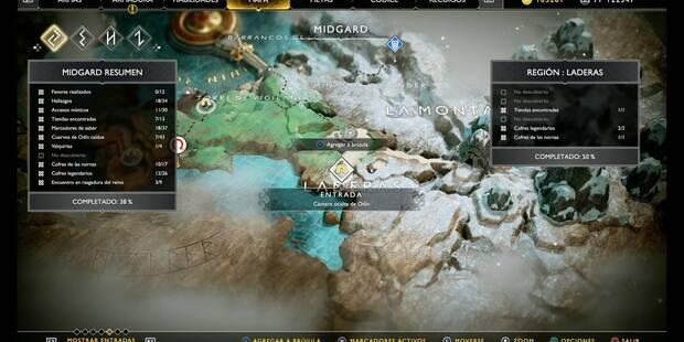 Camara oculta de Odín 3 en Midgard: Laderas - God of War (PS4)