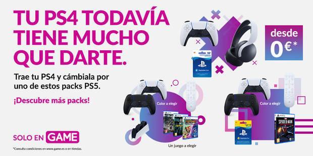 Packs de PS5 al llevar tu PS4 a GAME.