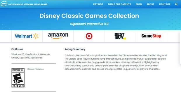 Disney Classic Games Collection en ESRB.