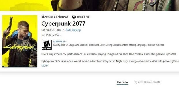 Microsoft añade una alerta en la Tienda Xbox para avisar de los fallos de Cyberpunk  2077 - Vandal