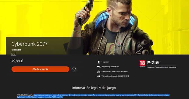 Cyberpunk 2077 PlayStation Store Espa