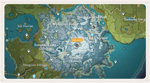 Nueva zona en Genshin Impact: Mapa de Espinadrag
