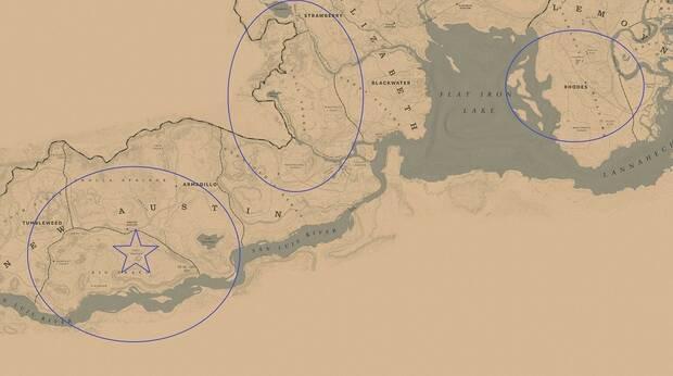 Red Dead Online - battle Royale: Mapa de juego