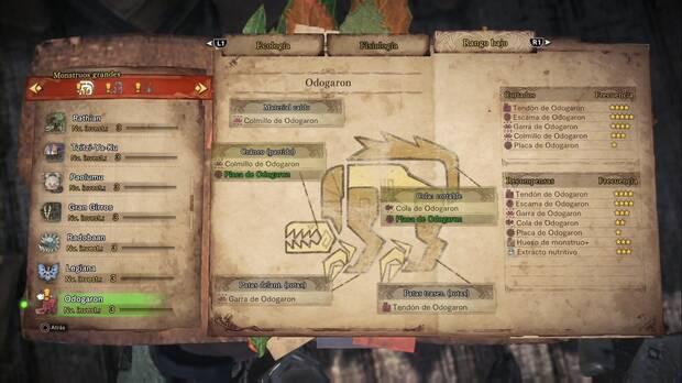 Materiales Odogaron Monster Hunter World