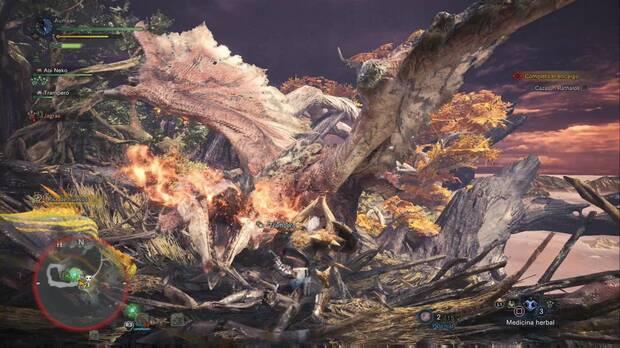 El Rathalos plantará batalla - Trono ardiente sobre el bosque - Monster Hunter World
