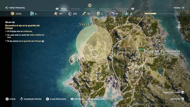 Assassin's Cree Odyssey - Ojo por ojo: localización de la guarida del Cíclope