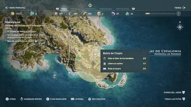 Assassin's Creed Odyssey - Echarse a la mar: localización de la bahía de Clepto