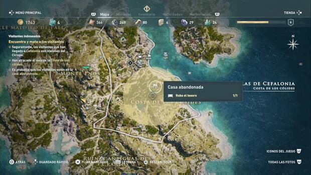 Assassin's Cree Odyssey - Visitantes indeseados: localización de la casa abandonada