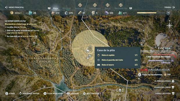 Assassin's Creed Odyssey - La verdad saldrá a la luz: localización de la casa de la pitia