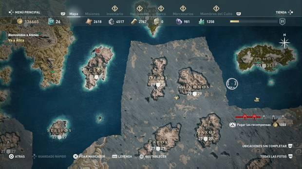 Assassin's Creed Odyssey - Miembros del Culto: localización de El Tiburón de Mitilene