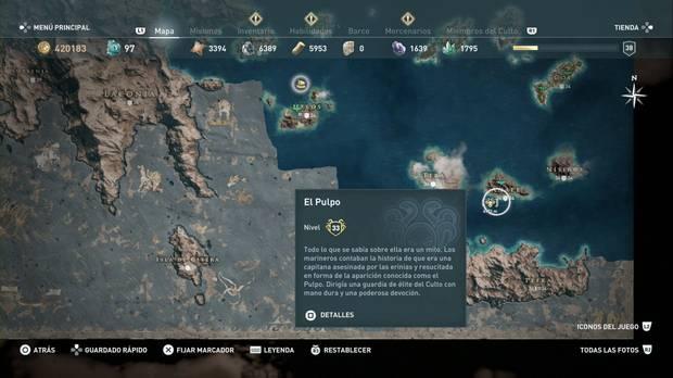 Assassin's Creed Odyssey - Miembros del Culto: localización de El Pulpo