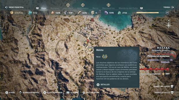 Assassin's Creed Odyssey - Miembros del Culto: localización de Mélite