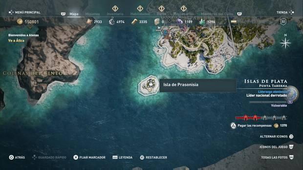 Assassin's Creed Odyssey - Miembros del Culto: localización de El Grifo Plateado