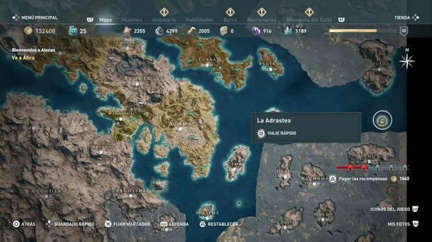 Assassin's Creed Odyssey - Respirar bajo el agua: localización de la isla sin nombre