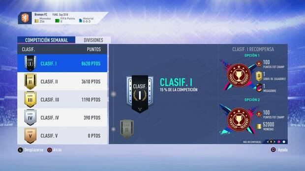 FIFA 19 - Clasificación semanal