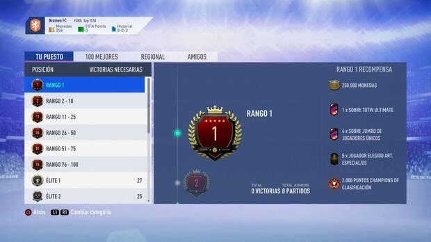 FIFA 19 - Recompensas de la jornada