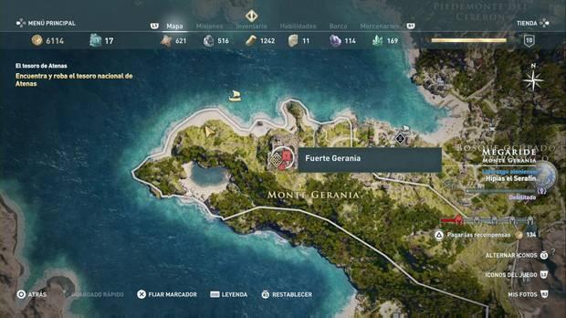 Assassin's Creed Odyssey - El tesoro nacional de Atenas: localización de Fuerte Gerania