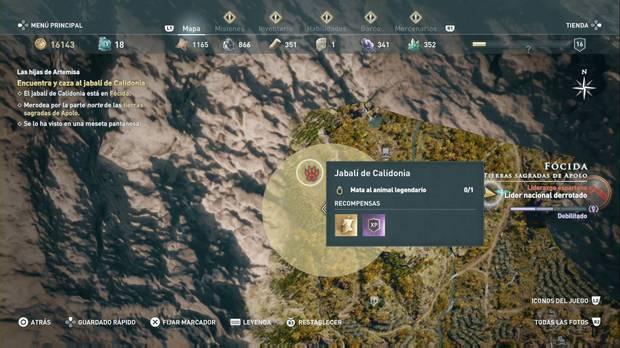 Assassin's Creed Odyssey - Las hijas de Artemisa: localización del jabalí