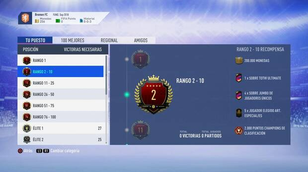 FIFA 19 Premios - Rango 2-10