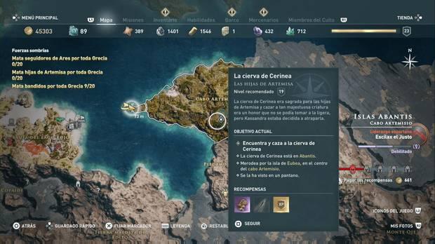 Assassin's Creed Odyssey - La cierva de Cerinea: localización