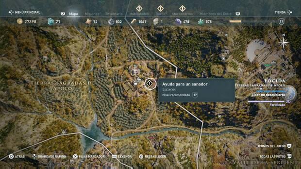 Assassin's Creed Odyssey - Ayuda para un sanador: localización de la misión