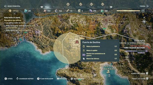 Assassin's Creed Odyssey - Estoy hecho un chaval: localización del fuerte de Desfina