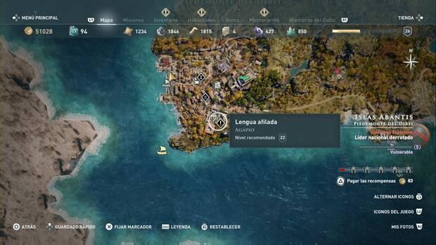Assassin's Creed Odyssey - Lengua afilada: localización