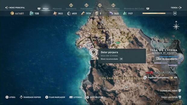 Assassin's Creed Odyssey - Dolor púrpura: localización