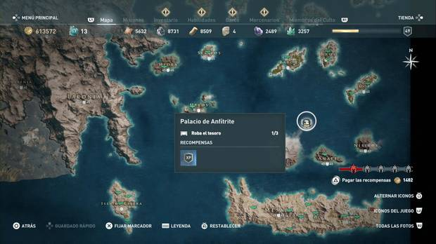 Assassins' Creed Odyssey - Palacio de Anfítrite: lanza legendaria Falx del Olimpo