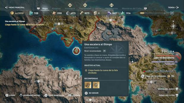 Assassin's Creed Odyssey - Una escalera al Olimpo: localización de la Isla de Tisbe