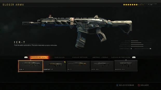 Fusiles de asalto en COD black ops 4