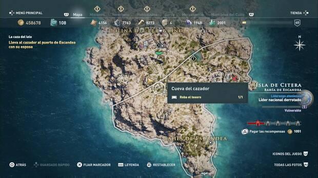 Assassin's Creed Odyssey - La caza del lelo: localización de la Cueva del cazador