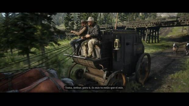 Red Dead Redemption 2 - Una escena pastoral americana: Micha y Arthur se van con la diligencia