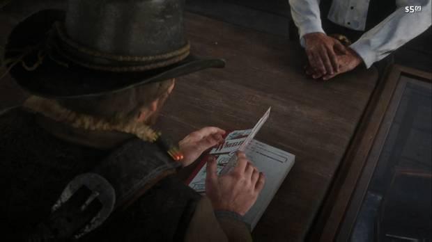 Red Dead Redemption 2 - Las ovejas y las cabras: Arthur mira el catálogo de armas