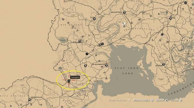 Ubicación Trampero sur del mapa - Red Dead Redemption 2