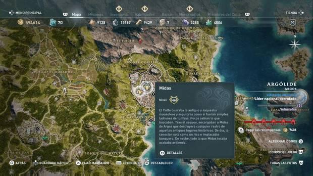 Assassin's Creed Odyssey - Miembros del Culto: localización de Midas