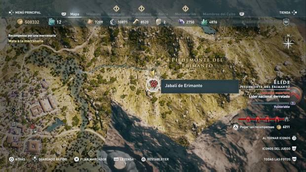 Assassin's Creed odyssey - Animales legendarios: localización del Jabalí de Erimanto