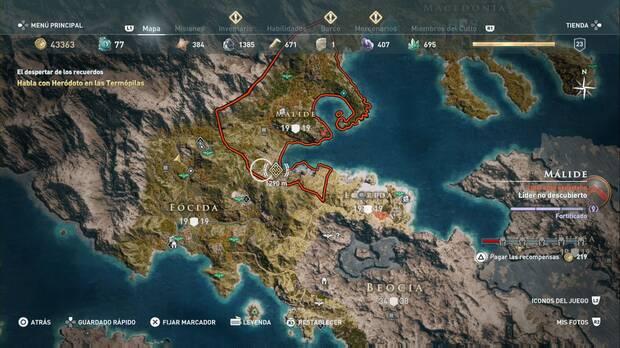 Assassin's Creed Odyssey - El despertar de los recuerdos: acantilado de las Termópilas