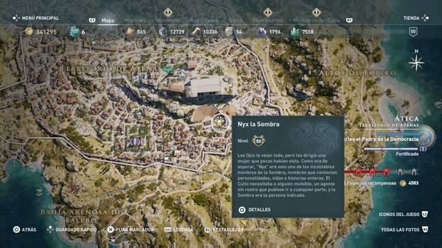 Assassin's Creed Odyssey - Miembros del culto: localización de Nyx la Sombra