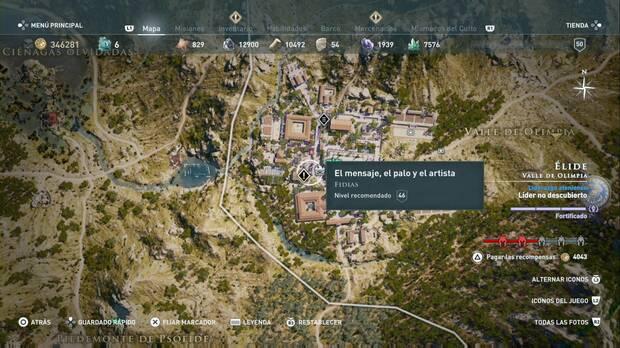 Assassin's Creed Odyssey - El mensaje, el palo y el artista: localización