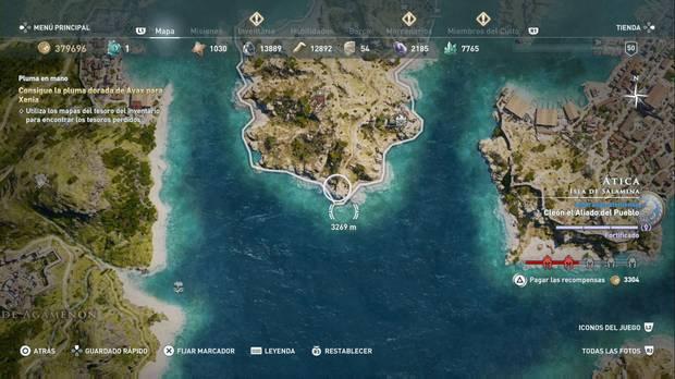 Assassin's Creed Odyssey - Pluma en mano: localización de la pluma dorada de Áyax